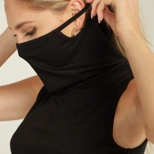 Sleeveless Dress with Mask Turtle Neck